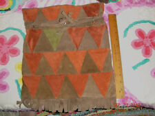 VTG ESTATE 1960's HIPPIE GYPSY PATCHWORK SUEDE FRINGE STASH BAG PURSE BIG CLUTCH