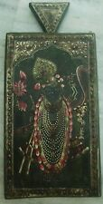 RARE ANTIQUE WOODEN WRITING SLATE WITH BEUTIFUL HAND PAINTING OF LORD KRISHNA