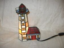 lighted stained glass lighthouse accent lamp nautical decor