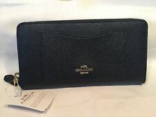 NWT Authentic Coach Crossgrain Leather Accordion Zip Wallet IM/Midnight F54007