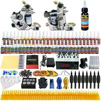 Complete Tattoo Kit Set 2 Tattoo Machine Gun 54 Ink Power Supply Needles TK252