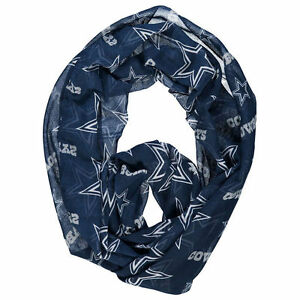 Dallas Cowboys NFL Sheer Infinity Blue Logo Team Scarf