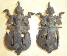 BIRMANIE anc. paire de Poulies à tisser en bronze BURMA Myanmar weaving pulley