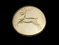 "2 1/4"""" SANTA REINDEER BELT BUCKLE GOLD PLATED  FITS 1 3/4"" BELT"