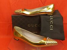NIB GUCCI GOLD METALLIC LEATHER STUDDED POINTED TOE COLINE 370806 FLATS 37 7