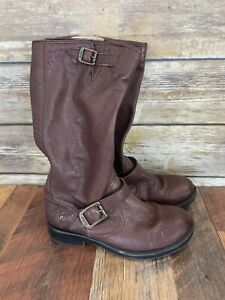 Frye Kids Boys Veronica Slouch Leather Tall Riding Boots Girls Brown Youth 2