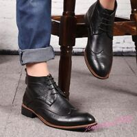Mens ankle boots casual high top lace up dress leather oxford Brogue wing tip