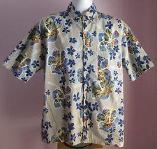 VTG Mens PACIFIC SCENE Blue/Beige Floral Scenes Hawaiian Shortsleeve Shirt Sze L