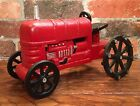 Cast Iron Vintage Red Farm Tractor Toy