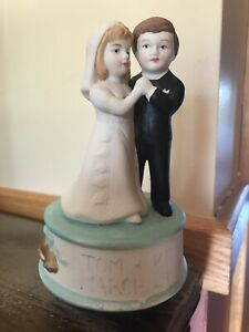 Wedding Cake Topper Couple Music Box Bride & Groom