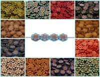 CHOOSE COLOR! 4pcs 14mm Flower Beads Czech Pressed Glass