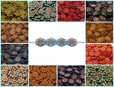 CHOOSE COLOR! 4pcs 14mm Flower Beads Czech Pressed Glass
