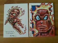 HUMAN TORCH FANTASTIC FOUR HAND DRAWN COLOUR SKETCH CARD BY RAK MARVEL PSC ACEO