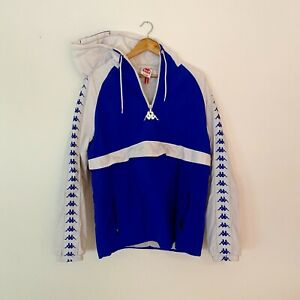 Kappa Hoodie blue and white with front pocket stud clasp and zip pockets
