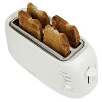 Igenix IG3020 4 Slice Toaster in White, 2 Long Slots with Adjustable Browning Co