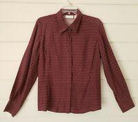 Liz Claiborne Women's 100% Silk Blouse Shirt Long Sleeve Size L Purple Print