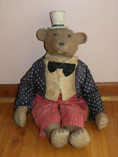 "Vtg 27"" Folk Art Uncle Sam Bear-Carved Look Head, Feet, Paws & Hat-Clothes-""Mo"""