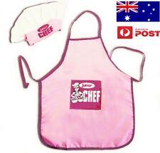 Aussie seller - Kids Girls Chef Hat Apron Pink Baking Chefs Junior 2pcs Costume