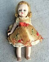 Vintage 1957 Madame Alexander Kins Cherry Twin Wendy Doll Bent Knee Tagged Dress