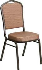 HERCULES Series Crown Back Stacking Banquet Chair -Gold Diamond Patterned Fabric
