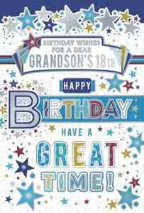"""Birthday Wishes Grandson 18th Birthday Card. Great Quality. Large Card 9"""" x 6"""""""