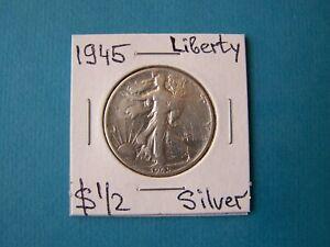 US COINS 1945 YEAR LIBERTY HALF DOLLAR NICE SILVER COIN