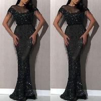 Women Black Lace Sequins off shoulder Evening Dress Formal Long Dresses Black