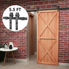 5.5 FT Steel Sliding Barn Wood Door Track System Closet Antique Hardware Kit Set
