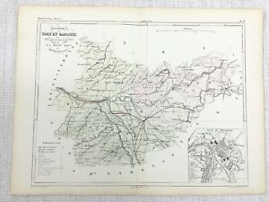 1881 Antique French Map Montauban Tarn-et-Garonne France Hand Coloured Engraving