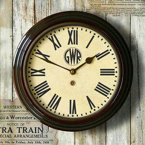 """Railway Station Wall Clock Great Western GWR Roundel 12"""" dia quality repro gift"""