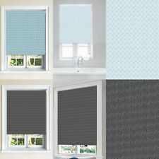 Geomatric Sky Blue & Charcoal Blackout Roller Windows Blinds Cut To Size Safety