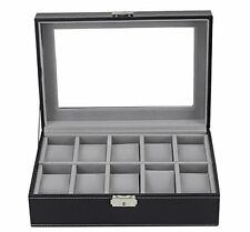 10 GRID SLOTS LEATHER WATCH CASE GIFT BOX JEWELLERY DISPLAY STORAGE HOLDER BLACK