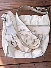 LUCKY BRAND Cream Leather ABBEY ROAD Convertible Messenger Cross Body Purse Bag