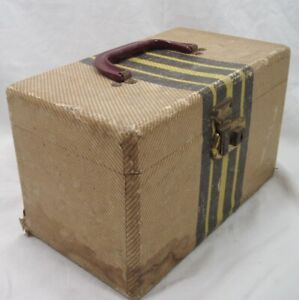 Vtg Small Tweed Travel Box Brown & Yellow Stripes Tan Chevron DISTRESSED DECOR