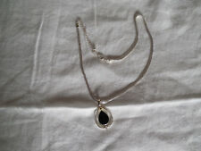"modern design pendant necklace 20"" Lovely silver tone tear drop shaped"