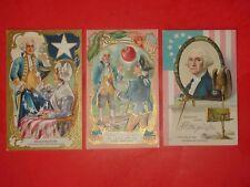 Jb478 Vintage Lot 3 George Washington Patriotic Postcards Flag Star Eagle Cherry
