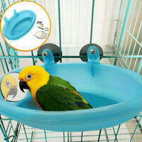 Blue Small Parrot Bird Bathtub Pet Cage Accessories Shower Mirror Bath Box T1Y5