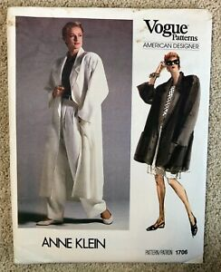 Vintage 1980s ANNE KLEIN Vogue American Designer Sewing Pattern size 12 UNCUT