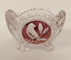 """8"""" Hofbauer Byrdes Collection Crystal Footed Bowl Red/Ruby Stain Bird Design"""