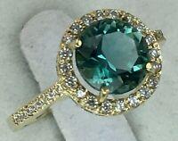 Vintage Original Yellow Gold 585 14K Natural Green Quartz Ring, Yellow Ring 585