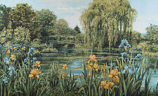 """43"""" WALL JACQ. WOVEN TAPESTRY Irises near Pond EUROPEAN FLORAL LANDSCAPE PICTURE"""