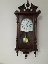 VINTAGE C WOOD & SON MECHANICAL WOODEN WALL CLOCK,  WITH KEY, PENDULUM & CHIMES