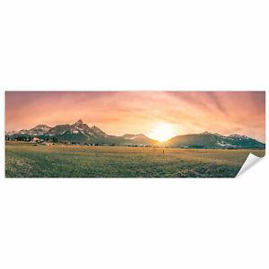 Postereck 3559 Poster Leinwand Panorama, Berge Natur Landschaft Wiese Feld