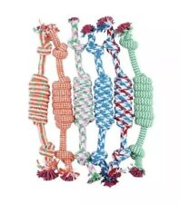 Puppy Dog Pet Toy Cotton Braided Bone Rope Chew Knot Color Play Tug Clean Teeth