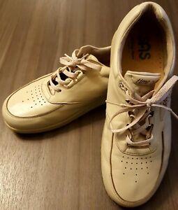 "SAS ""Time Out"" Mens 10 M Beige Leather Diabetic Support Shoes Tripad Comfort"