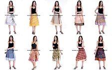 10 Wholesale Lot Vintage Silk Sari Magic Wrap Around Frill Skirts Dress Indian