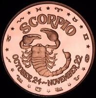NOVEMBER 22 1 OZ COPPER ROUND ZODIAC SIGN SCORPIO OCTOBER 24