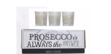 Prosecco Is Always The Answer Set Of 3 Luxury Glitter Candles Glass Jar Gift