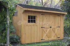8' x 12' Garden Storage Saltbox Blueprints Plans, Material List Included #70812