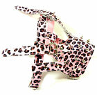 Adjustable Pink Leopard Leather Spiked Studded Dog Muzzle for Pit Bull Terrier